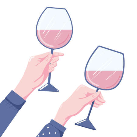 Human hand holding glass of red wine, two variants, flat style vector illustration isolated on white background. Two human hands holding glass of red wine