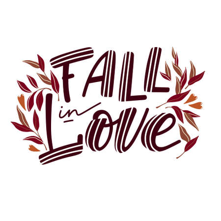 Fall in love banner with lettering and leaves