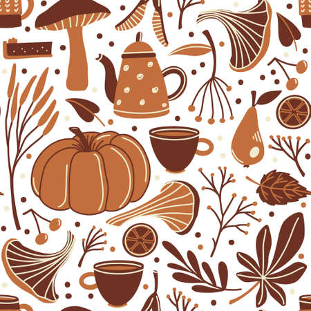 Seamless pattern with fall, autumn season objects - pumpkin, sock, mushrooms, leaves, twigs and berries, flat cartoon vector illustration on white background, wrapping paper, backdrop, textile design