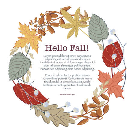 Round frame made of fall, autumn leaves, twigs and branches with place for text inside, vector illustration. Round frame, border design with twigs and branches