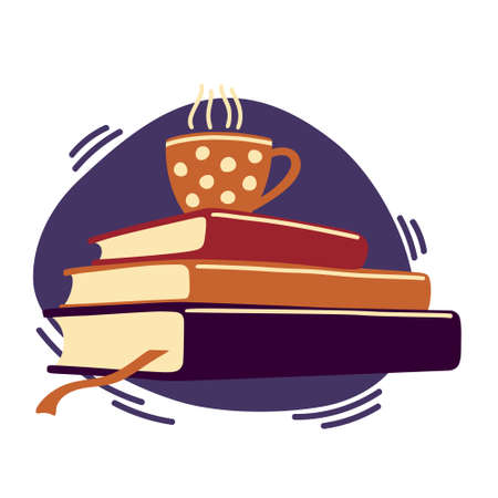 Pile of books with cup of hot tea, coffee on top  イラスト・ベクター素材