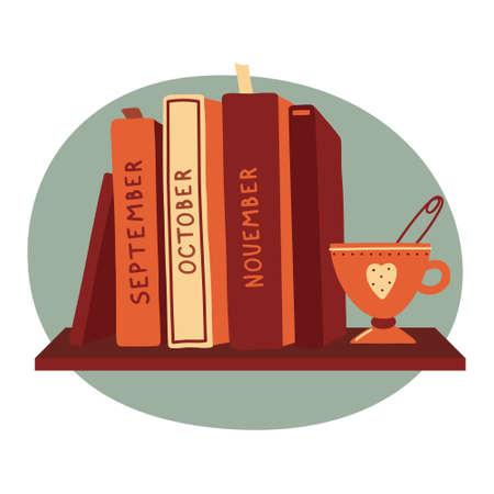 Books standing on shelf, reading club logo design