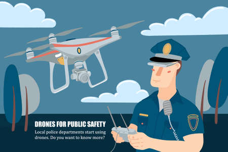 Policeman operating drone with remote controller
