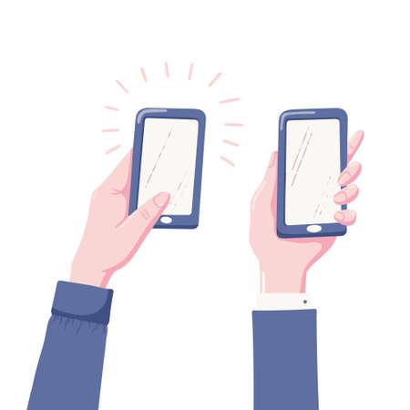 Zwei Varianten der menschlichen Hand, die Handy, Smartphone mit leerem, leerem Bildschirm, flache Vektorillustration lokalisiert auf weißem Hintergrund hält. Menschliche Hand, die Handy, Smartphone hält