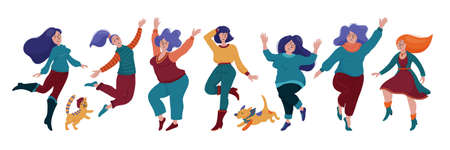 Set of happy pretty women dancing in warm clothes