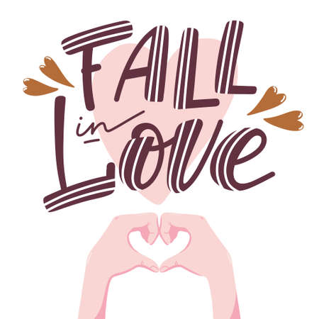 Fall in love banner, poster design with lettering and pair of human hands folding in shape of heart, vector illustration isolated on white background