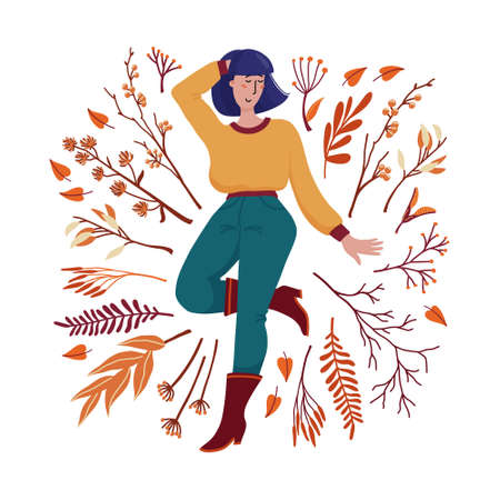 Pretty young woman in sweater, boots and jeans surrounded by falling leaves, twigs and branches, autumn season celebration concept, flat cartoon vector illustration isolated on white background