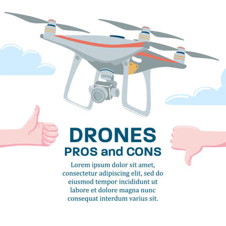 Pros and cons of drone technology, banner poster design template with quadcopter flying in sky and hand showing thumb up and down gesture, flat cartoon vector illustration isolated on white background  イラスト・ベクター素材