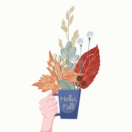 Side view flat cartoon style vector illustration of human hand holding cup, mug with bouquet, composition of colorful fall, autumn leaves, branches and herbs isolated on white background