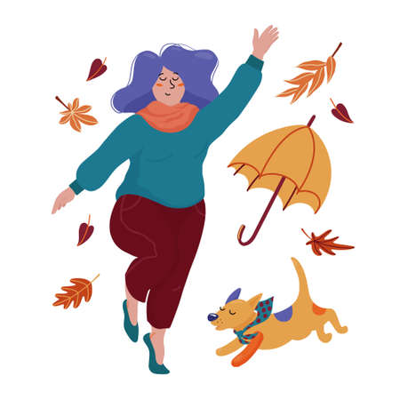 Young chubby woman celebrating autumn with her dog Illustration