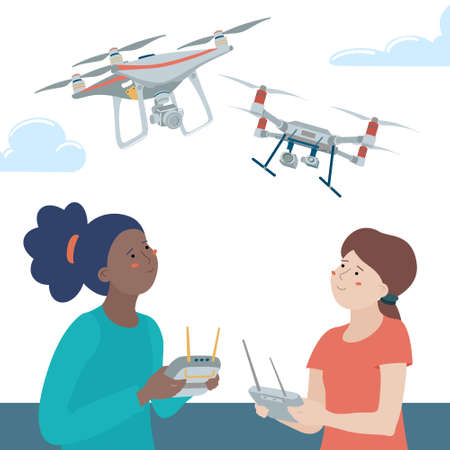 Two teen girls playing with drones outdoors