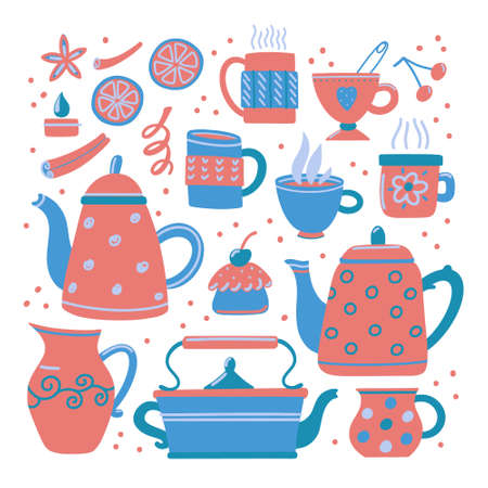 Set of cute funny teapots and various tea cups with muffin, lemon slices and cinnamon sticks, vector illustration isolated on white background. Big collection of tea pots and cups, print design