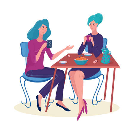 Two women, girls sitting at the table, drinking tea, talking, smiling, having fun, flat style vector illustration isolated on white background. Two women friends chatting and drinking tea at the table