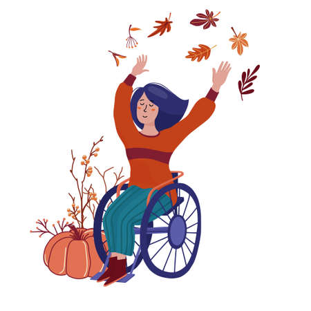 Pretty woman in sweater, boots and jeans sitting in wheelchair, waving hands - fall, autumn season concept with leaves, pumpkin, branches, flat cartoon vector illustration isolated on white background