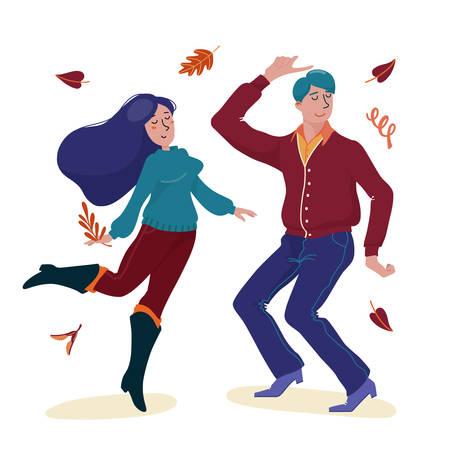 Young man in cardigan and woman in sweater dancing Standard-Bild - 133007503