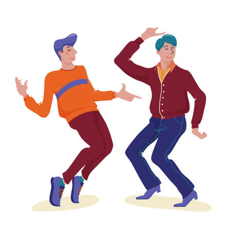 Two young men, guys dancing happily together Standard-Bild - 133007504