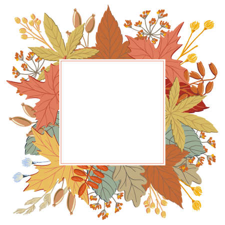 Frame of fall, autumn leaves, twigs and branches with square place for text, vector illustration. Frame, border, banner, print design with fall, autumn twigs and branches and place for text  イラスト・ベクター素材