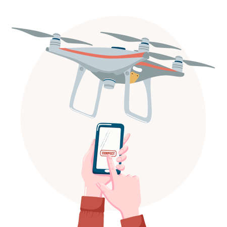 Quadcopter drone and hands touching connect button on smartphone, mobile phone screen, flat cartoon vector illustration isolated on white background. Controlling drone with smartphone concept