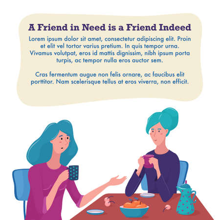 Two women, girls sitting at the table, drinking tea, one talking, another listening, psychological help center banner, flyer template design, flat style vector illustration on white background