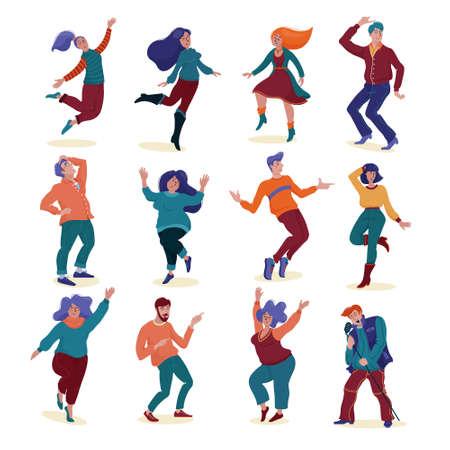Set of various happy dancing people, men and women