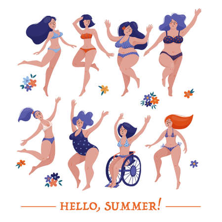 Set of various women dancing happily in swimsuits