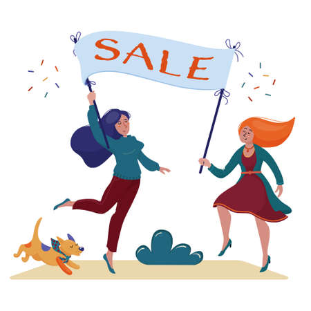 Two women, girls holding banner with Sale text Stock Vector - 131487779