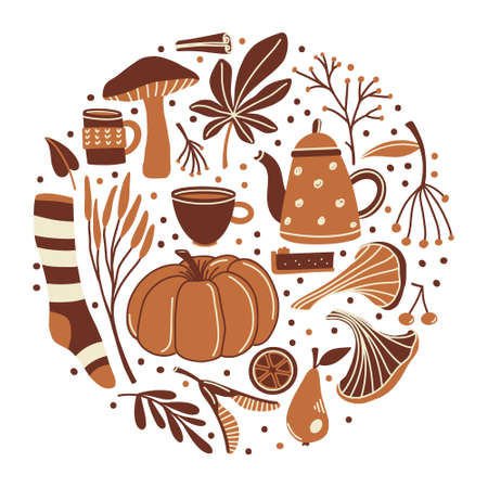 Round composition of fall, autumn season objects - pumpkin, sock, mushrooms, leaves, twigs and berries, flat cartoon vector illustration isolated on white background