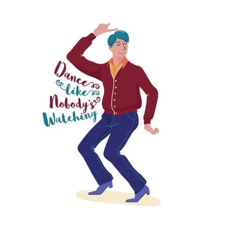 Funky young man in cardigan, pants and shoes dancing happily with closed eye and dance like nobody is watching text, flat style vector illustration isolated on white background