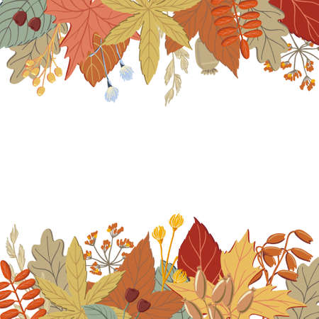 Top and bottom border of fall, autumn leaves, twigs and branches, banner or print design, vector illustration. Set of top and bottom borders with fall, autumn leaves and twigs Иллюстрация