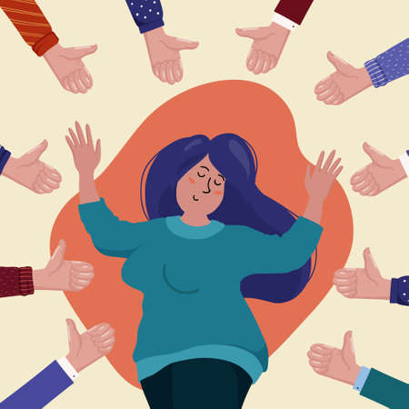 Happy young chubby woman surrounded by hands showing thumbs up gesture, concept of public approval, success, achievement, positive feedback, flat cartoon vector illustration. Social approval concept Archivio Fotografico - 132436204