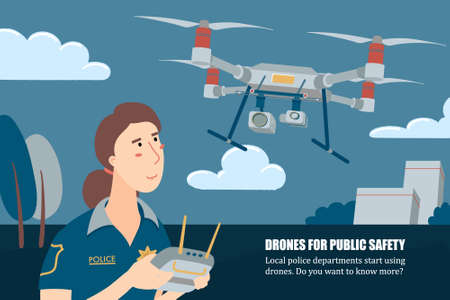 Police officer, policewoman operating drone with remote controller, horizontal banner, flyer template, flat vector illustration with place for text. Female police officer operating a patrolling drone