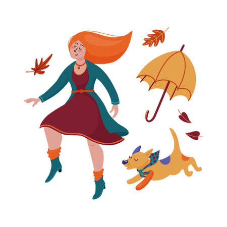 Pretty young red-haired woman in dress, cardigan and boots dancing with her dog, puppy, fall, autumn season celebration concept, flat cartoon vector illustration isolated on white background