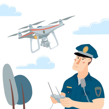 Police officer, policeman operating a flying drone with remote controller, flat style vector illustration isolated on white background. Policeman operating a patrolling drone, clouds and trees