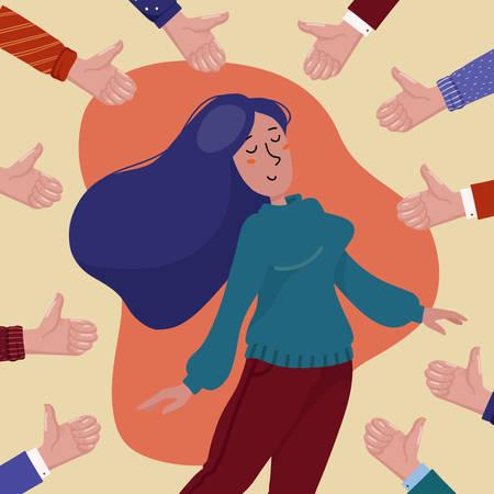 Glückliche junge hübsche Frau, umgeben von Händen, die Daumen nach oben zeigen, Konzept der öffentlichen Zustimmung, Erfolg, Leistung und positives Feedback, flache Cartoon-Vektor-Illustration