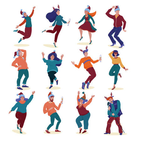 Big set of people, men and women, slim and chubby, wearing Christmas hats and reindeer horns, holding glasses, dancing happily at New Year party, flat vector illustration isolated on white background Illustration