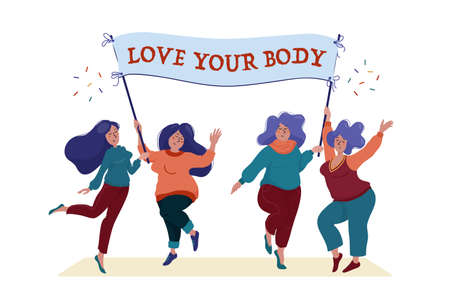 Group of four happy, smiling pretty women, girls, slim and curvy, holding banner, placard with Love Your Body text, body positivity and self acceptance concept, flat cartoon vector illustration