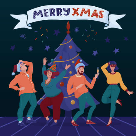 Merry Xmas banner, greeting card with Christmas tree, group of four happy people, men and women dancing in party hats, drinking champaign and banner with text, flat cartoon vector illustration