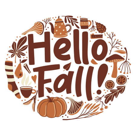 Hello Fall banner, poster design with lettering and autumn season object in round shape - pumpkin, sock, mushrooms, leaves, twigs and berries, vector illustration isolated on white background