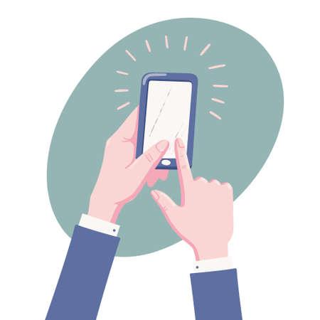 Menschliche Hände im Anzug mit Handy, Smartphone, Touchscreen mit Finger, flache Vektorgrafik isoliert auf weißem Hintergrund, Telefonpiepsen Vektorgrafik