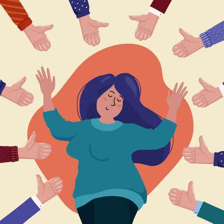 Glückliche junge mollige Frau, umgeben von Händen, die Daumen nach oben zeigen, Konzept der öffentlichen Zustimmung, Erfolg, Leistung, positives Feedback, flache Cartoon-Vektor-Illustration. Soziales Anerkennungskonzept Vektorgrafik