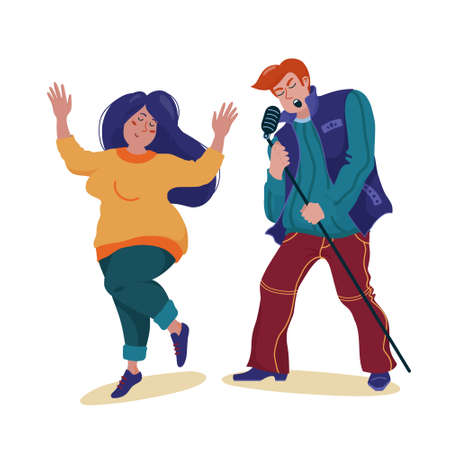 Man singing like a rock star and woman dancing Standard-Bild - 133007532
