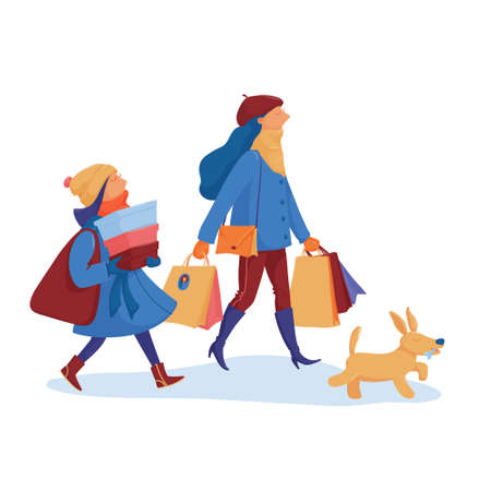 Two girls and a dog going home from shopping Standard-Bild - 133311856