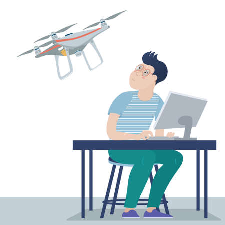 Teenage boy, teenager controlling, operating, playing with a quadcopter drone via his computer, sitting at the table, flat style vector illustration isolated on white background