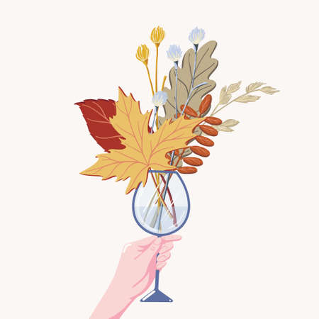 Flat cartoon vector illustration of human hand holding bouquet of fall, autumn leaves, herbs, and branches in wine glass isolated on white background. Female hand holding wine glass with fall leaves Illustration