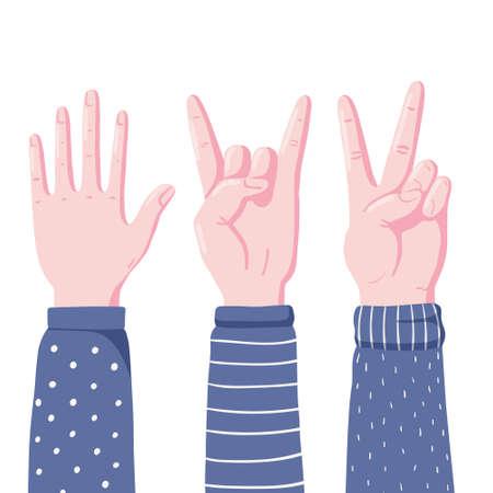 Hands showing high five, devil horns and v sign