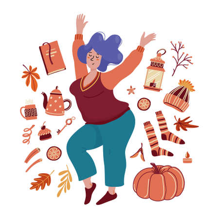 Young chubby woman surrounded by autumn objects Ilustração