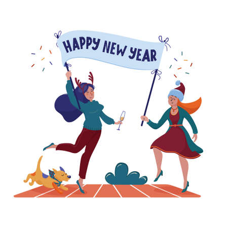 Two happy, smiling pretty women, girls in Christmas hat and reindeer horns holding banner, placard with Happy New Year greeting text, flat cartoon vector illustration isolated on white background Foto de archivo - 133738588