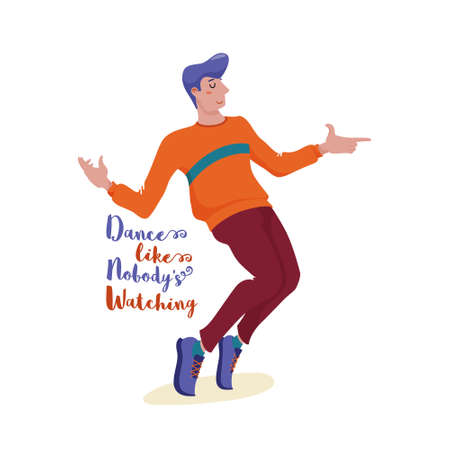 Young man in sweater and sneakers dancing happily