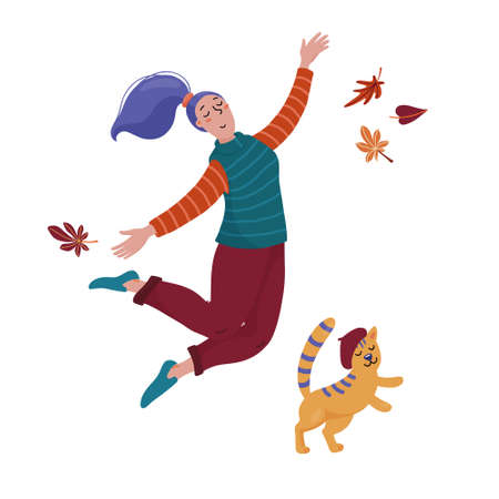 Pretty woman and cat in beret hat jump happily