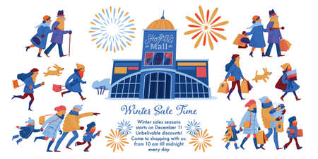 Winter sale banner, leaflet design with people in warm clothes hurrying to shopping mall and leaving it with many shopping bags, horizontal flat cartoon vector illustration on white background